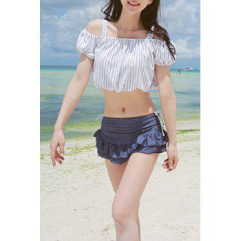 Striped Underwire Three Piece Swimsuit For Women