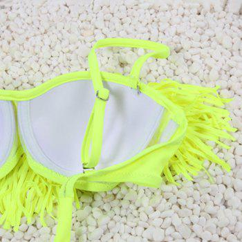 Chic Spagetti Strap Fringed Solid Color Women's Bikini Set - LAKE GREEN S