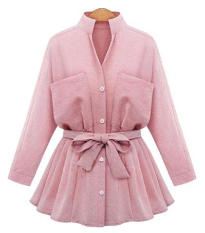 Fresh Style Stand Collar Waist Tied Long Sleeve Flare Blouse For Women - LIGHT PINK 5XL
