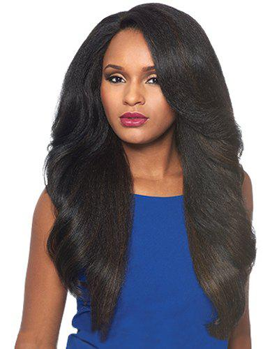 Fluffy Wavy Black Mixed Dark Brown Charming Long Side Bang Capless Synthetic Wig For Women charming long inclined bang capless fluffy wave black brown mixed synthetic adiors wig for women