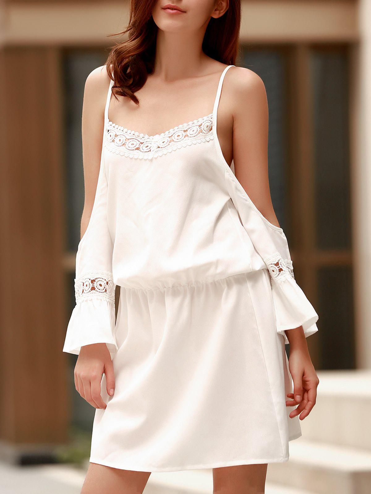 Sweet Women's Spaghetti Strap White Lace Spliced Dress - WHITE S