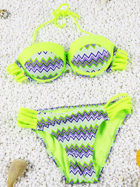 Cute Openwork Halter Chevron Stripe Design Two-Piece Bikini For Women - FLUORESCENT YELLOW S