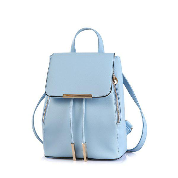 Preppy Cover and Solid Color Design Satchel For Women