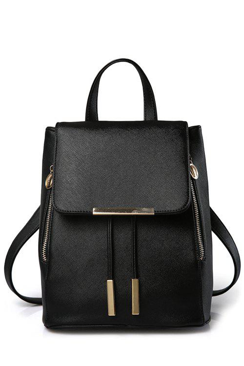 Preppy Cover and Solid Color Design Satchel For Women - BLACK