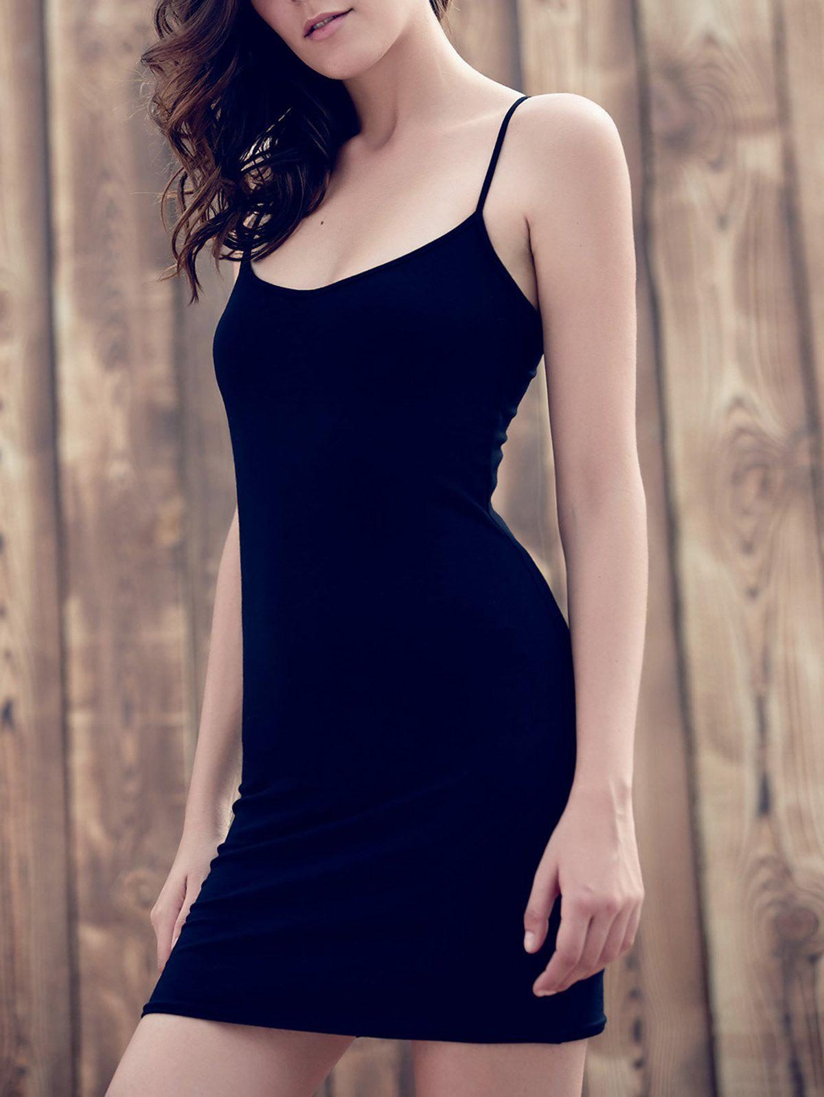 Casual Women's Strappy Backless Black Bodycon Dress