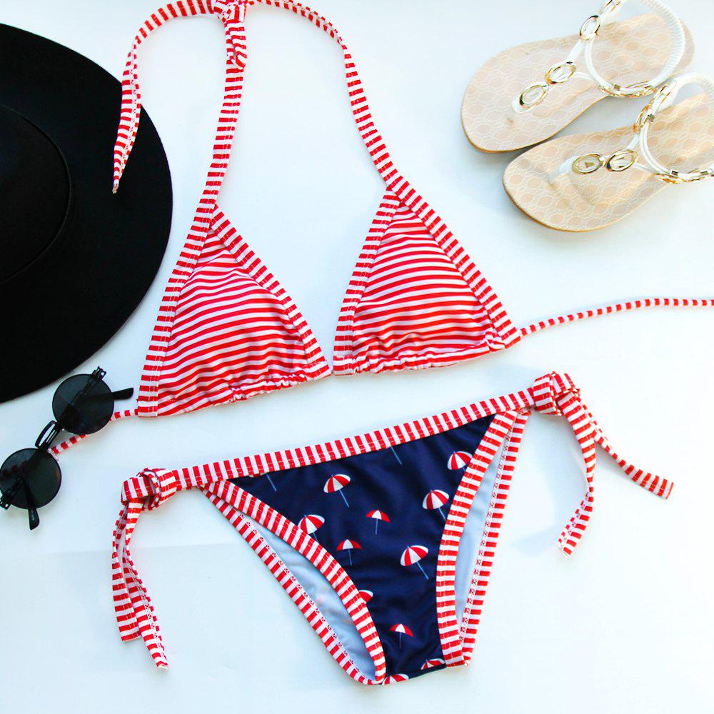 Alluring Women's Halter Striped Bikini Set - RED S
