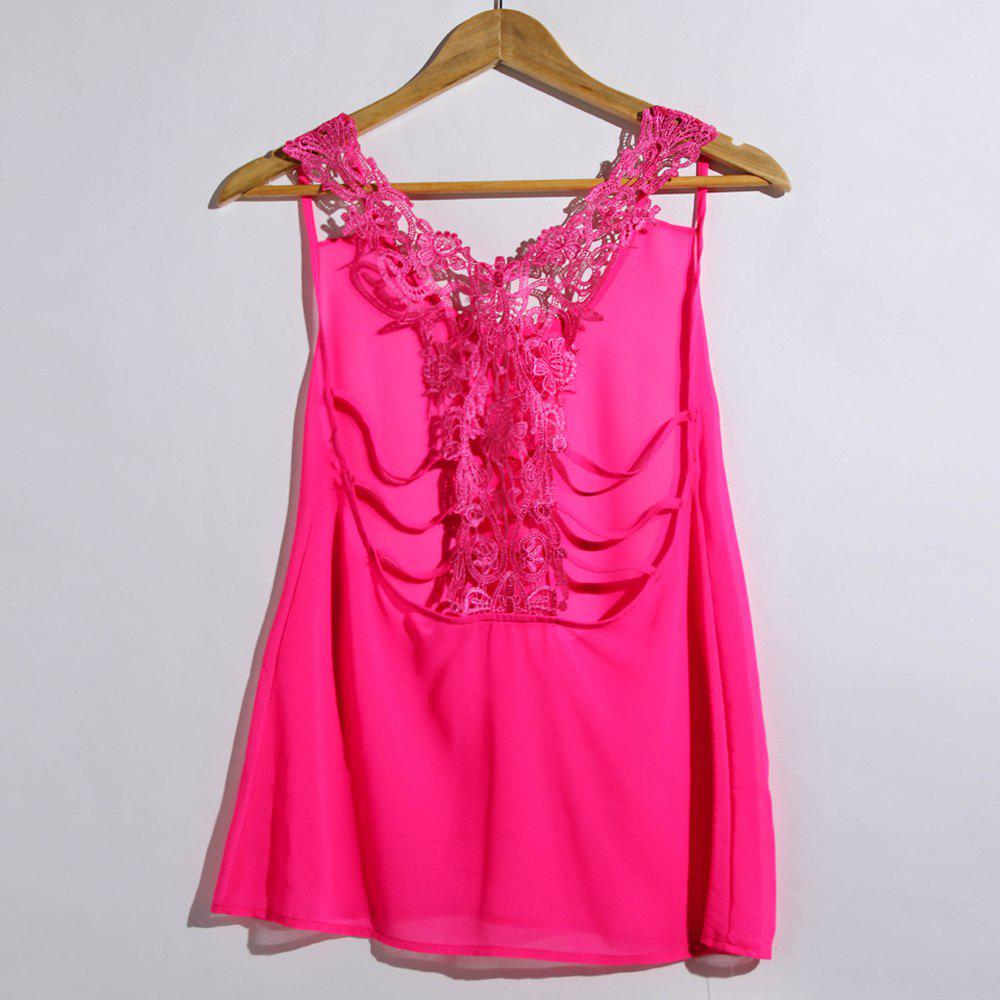 Sexy U Neck Sleeveless Solid Color Racerback Loose Hollow Out Women's Tank Top - ROSE S