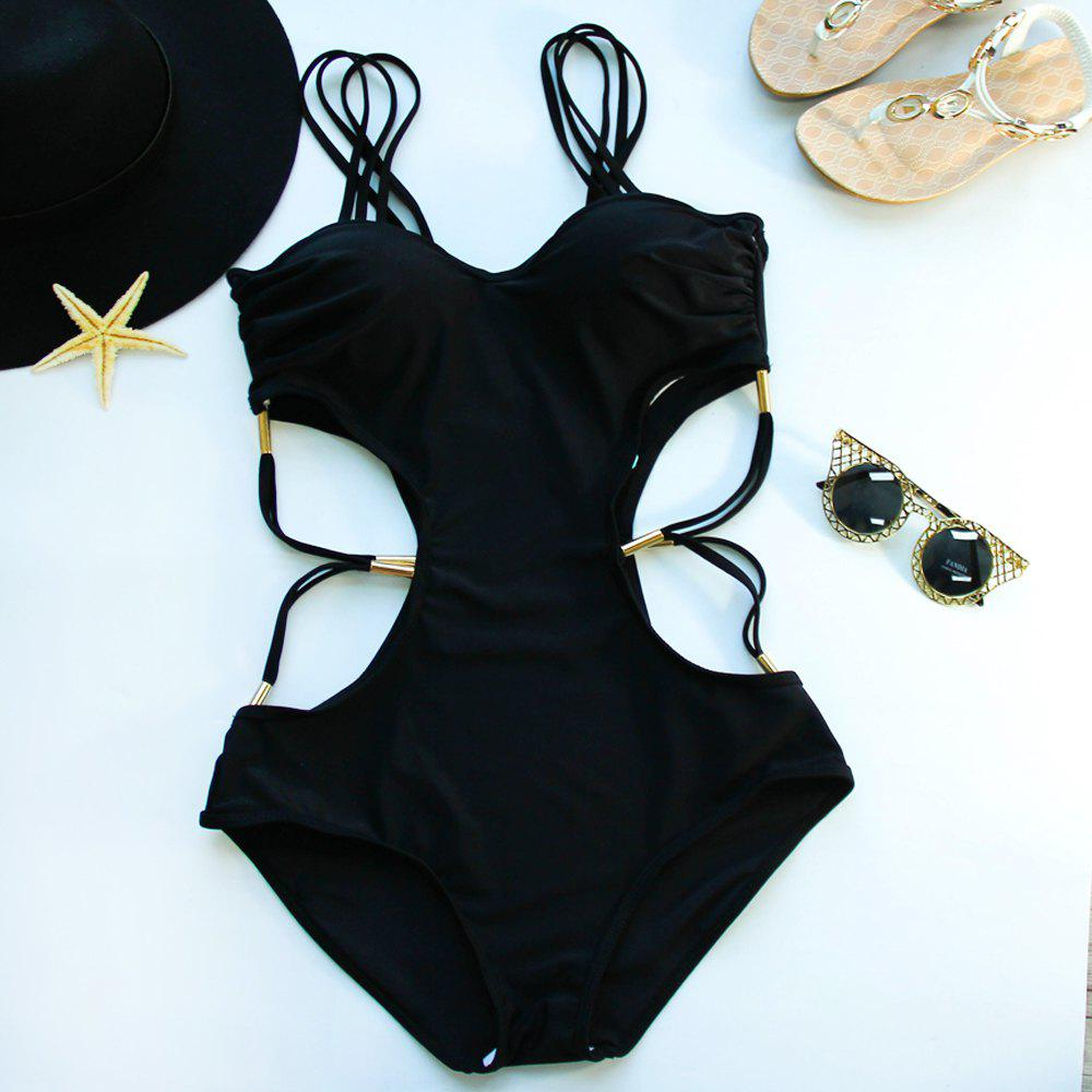 Chic Strappy Hollow Out One Piece Women's Black Swimwear