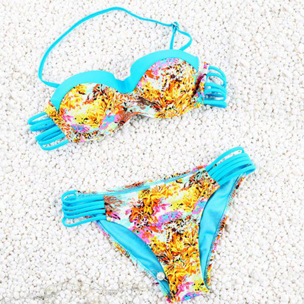 Vintage Halter Hollow Out Flower Print Women's Bikini Set - LAKE BLUE M