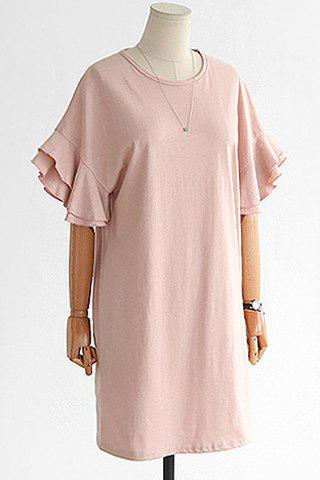Sweet Bell Sleeve Solid Color Plus Size T-Shirt Dress For Women - LIGHT PINK 2XL