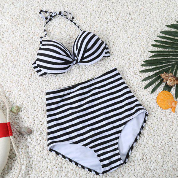 Simple Halter Striped Design High-Waisted Women's Bikini Set - BLACK M