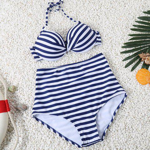 Simple Halter Striped Design High-Waisted Women's Bikini Set - PURPLISH BLUE L