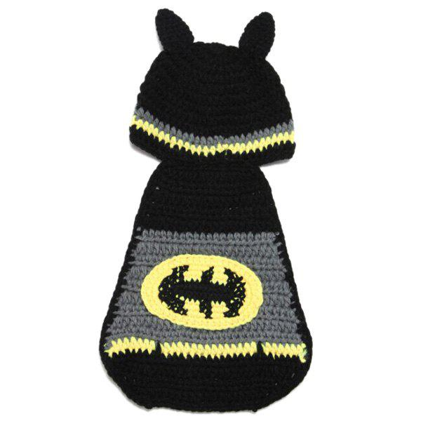 Sweet Hand Knitting Photography Bat Shape Baby Clothes Suits - BLACK