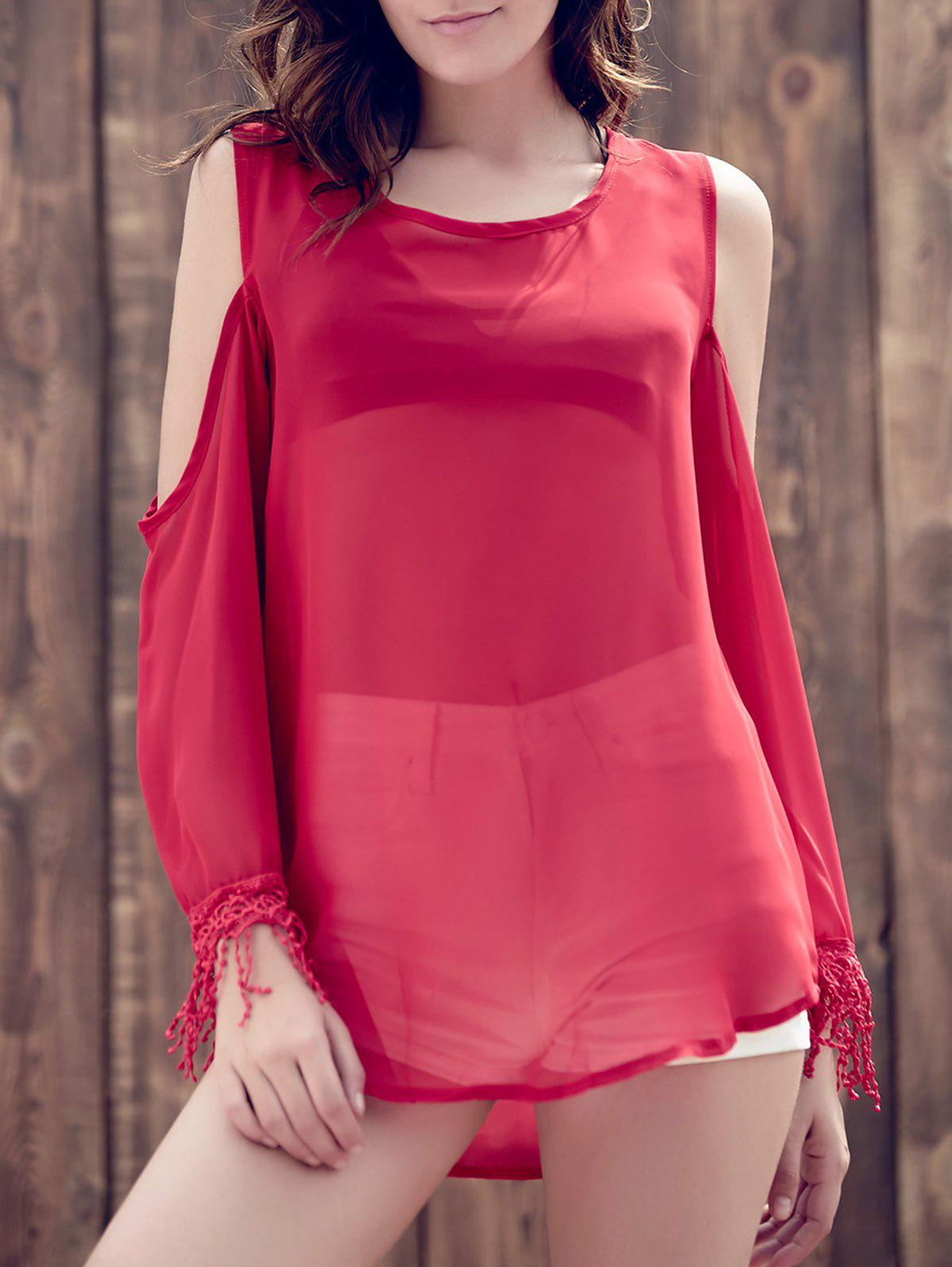 Trendy Scoop Collar Long Sleeve See-Through Fringed Cold Shoulder Women's Blouse - RED M