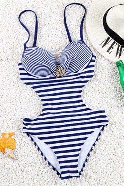 Фото Brief Stripe Design Spaghetti Strap One-Piece Women's Swimwear sexy style spaghetti straps diamante one piece women s swimwear