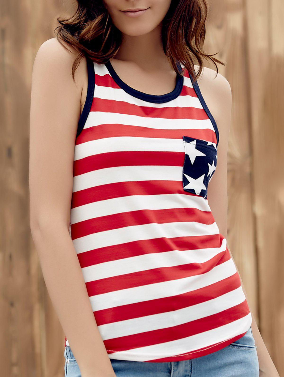 Brief Style U Neck Star Print Striped Racer Women's Tank Top - RED S