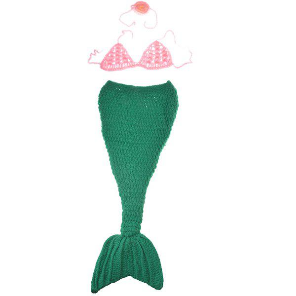 Chic Quality Hand Knitting Cartoon Mermaid Shape Three-Piece Baby Costume Set - PINK / GREEN