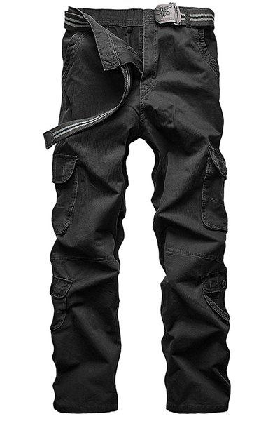 Loose Fit Straight Leg Multi-Pocket Solid Color Men's Zipper Fly Cargo Pants