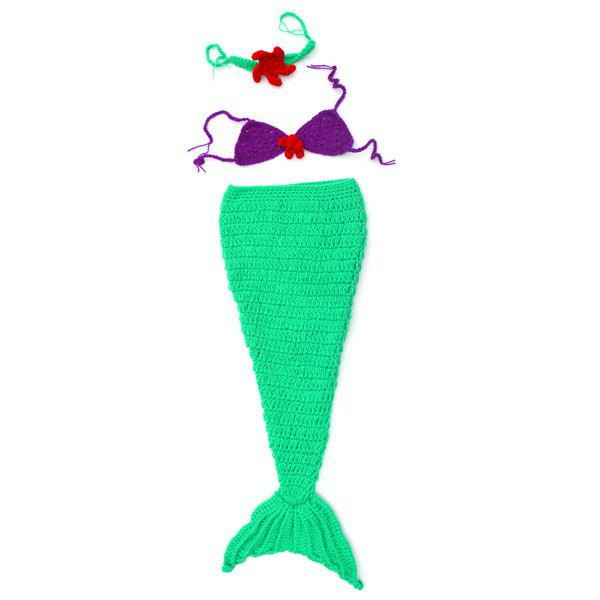 High Quality New Style Mermaid Tail Shape Newborn Handmade Crochet Knitted Costume Outfit - GREEN