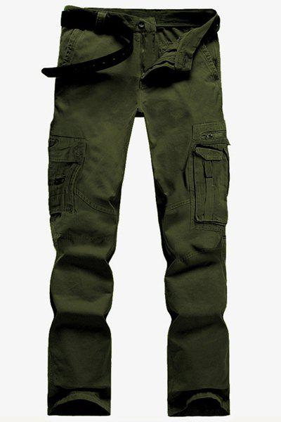 Casual Solid Color Multi-Pocket Straight Zipper Fly Straight Leg Men's Cargo Pants - GREEN 34