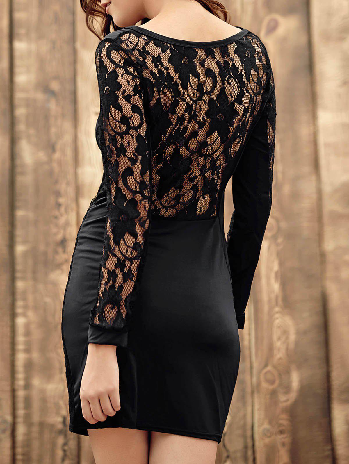 Trendy Long Sleeve Scoop Neck Hollow Out Lace Spliced Women's Dress