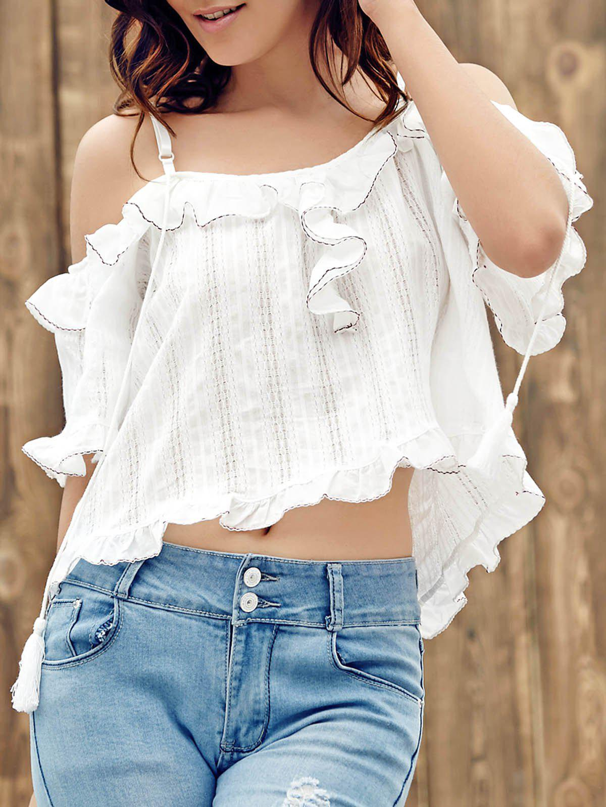 Trendy Off The Shoulder Hollow Out Flounce Women's T-Shirt - WHITE ONE SIZE(FIT SIZE XS TO M)