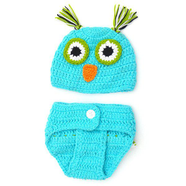 Fashionable Newborn Wool Knitting Owl Design Baby Costume Hat+Shorts Suits fashionable soft cotton hat for 0 3 years old baby navy