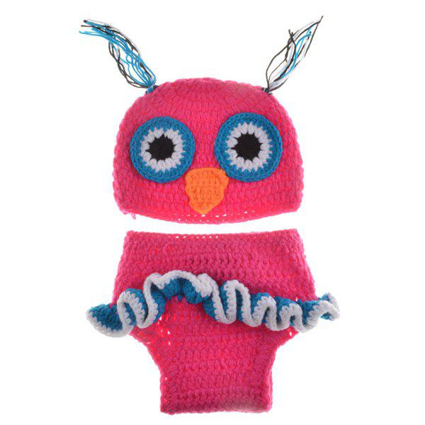 Fashionable Newborn Wool Knitting Owl Design Baby Costume Hat+Shorts Suits - ROSE