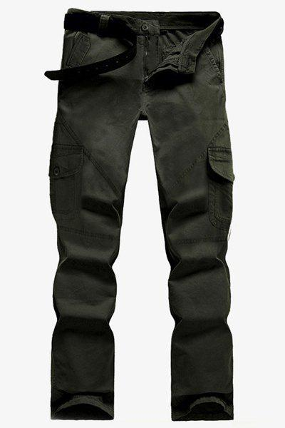 Outdoor Stereo Multi-Pocket Solid Color Straight Leg Zipper Fly Men's Cargo Pants - DEEP GREEN 32