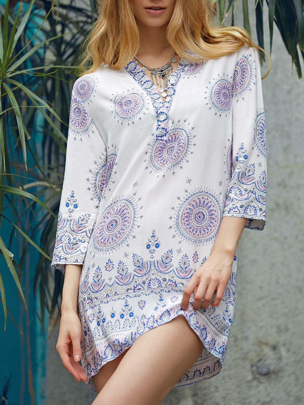 Ethnic Style 3/4 Sleeve V-Neck Loose-Fitting Printed Women's Dress - WHITE S
