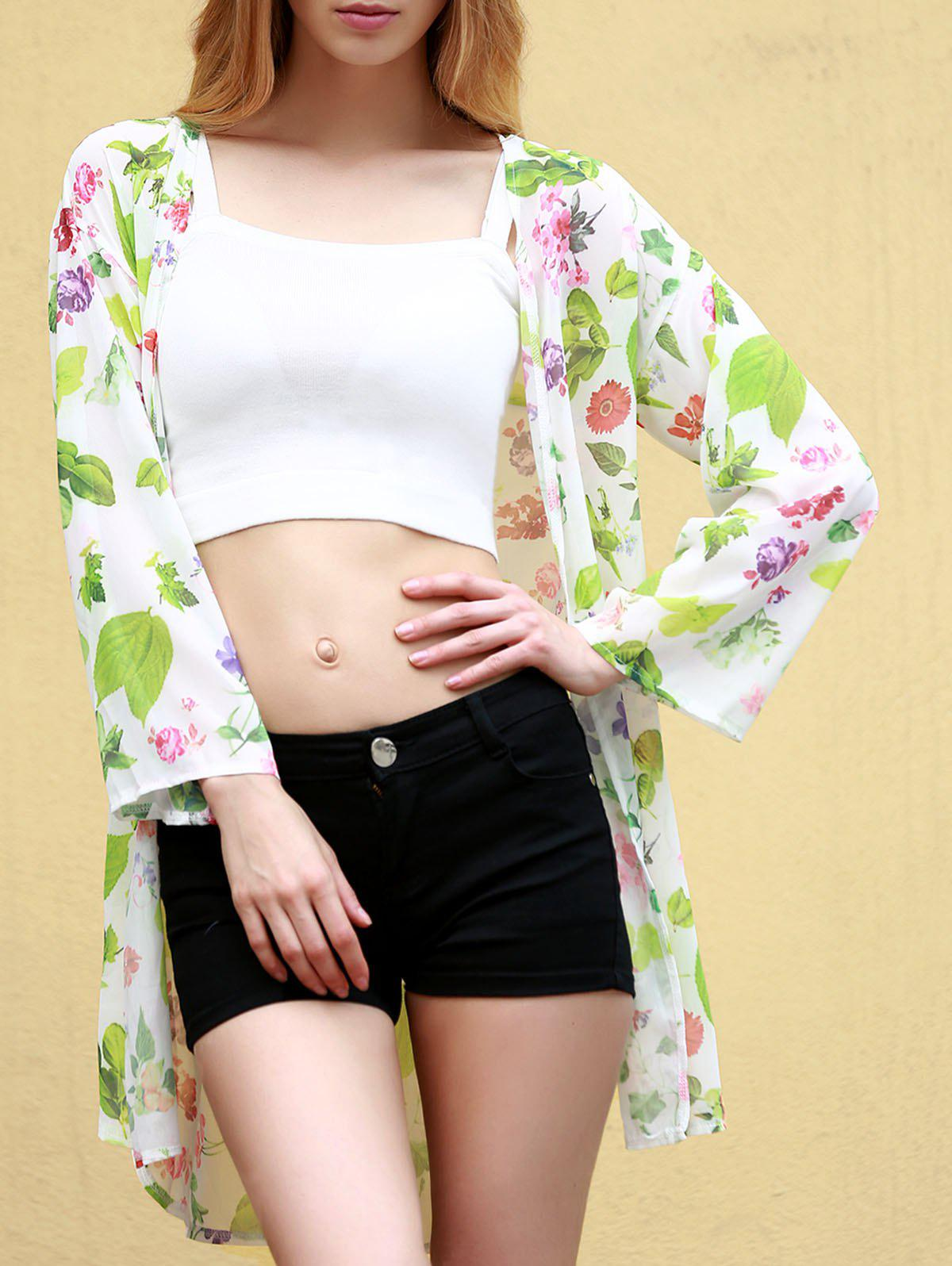 Stylish 3/4 Sleeve Collarless Floral Print Women's Kimono - WHITE XL