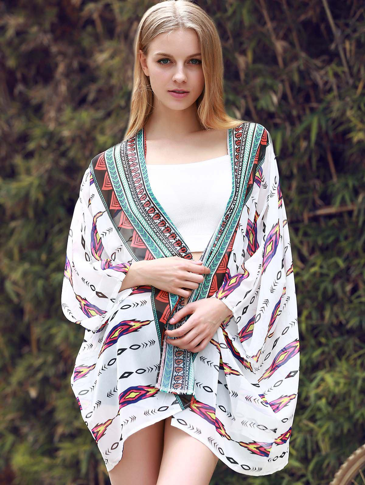 Chic 3/4 Sleeve Collarless Loose-Fitting Printed Women's Kimono - WHITE L