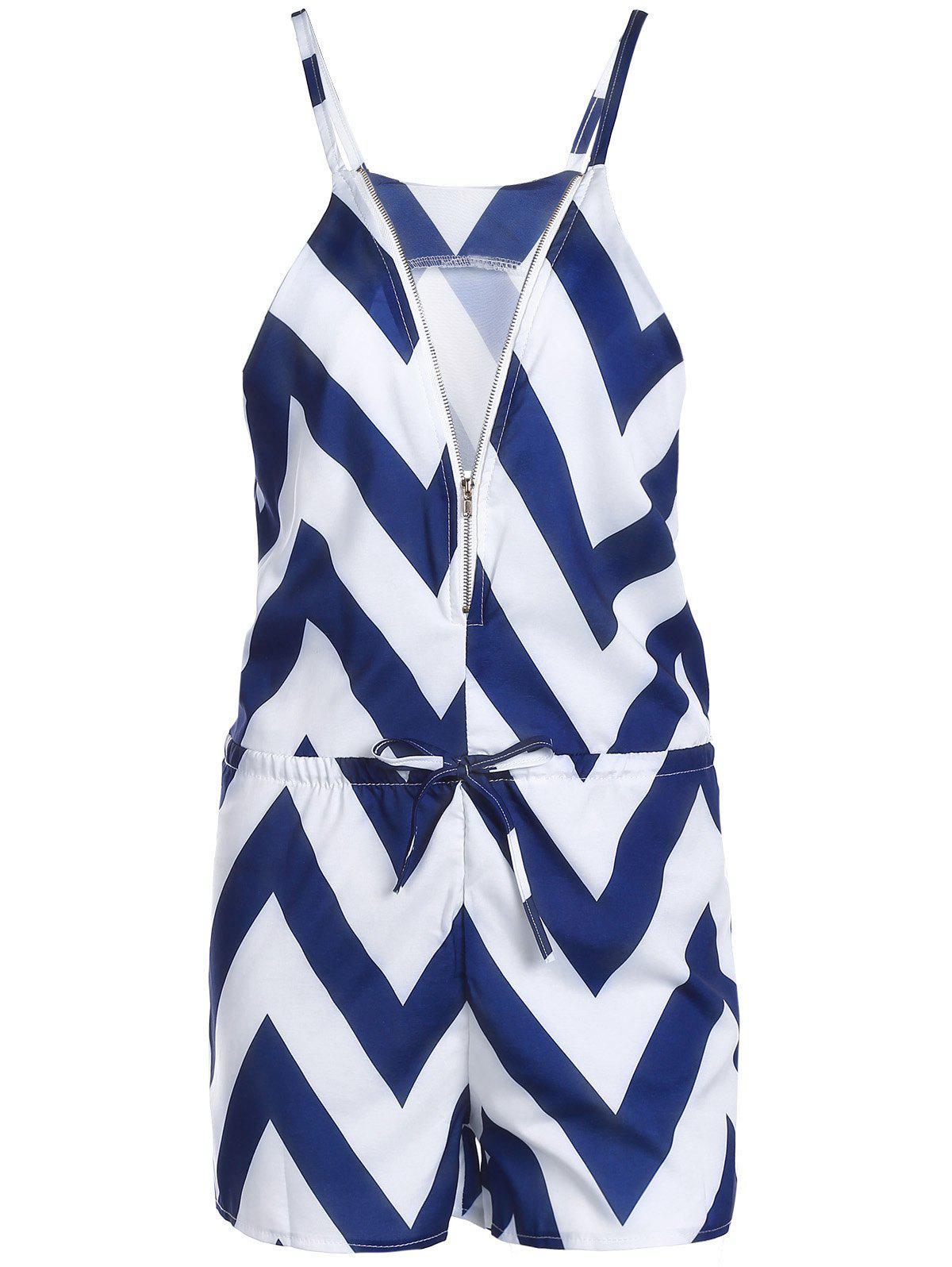 Trendy V-Neck Zig Zag Sleeveless Romper For Women