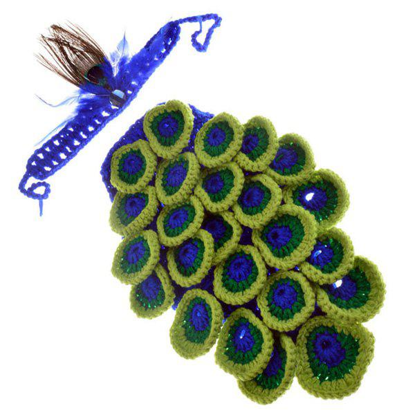 Chic Quality Manual Wool Crochet Peacock Design Baby Clothes with Headband - COLORMIX