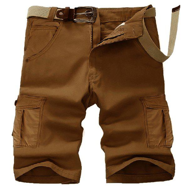Casual Straight Leg Stereo Pocket Slimming Men's Zipper Fly Cargo Shorts - COFFEE 36