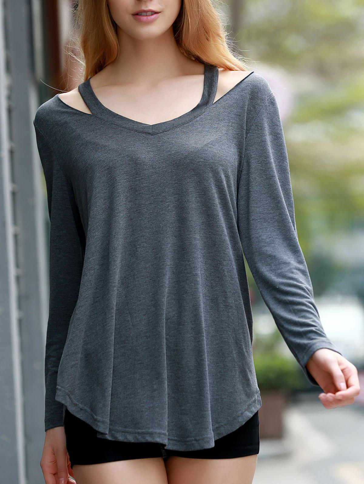 Stylish Women's V-Neck Long Sleeve Hollow Out Asymmetrical T-Shirt - DEEP GRAY S