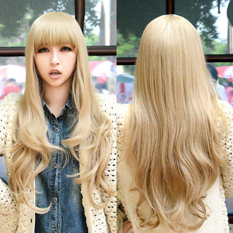 Fluffy Wavy Light Blonde Synthetic Charming Long Full Bang Capless Cosplay Wig For Women harajuku anime wig cosplay women sexy full long curly wavy costume party synthetic hair blonde wigs female sexy perucas pelucas