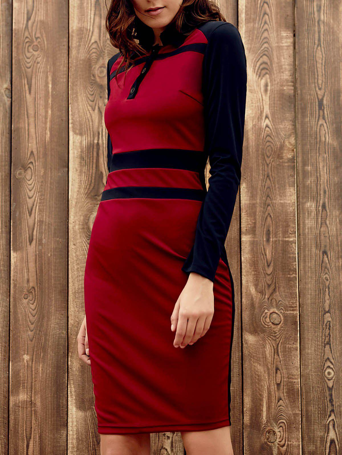 Chic Long Sleeve Turn-Down Collar Skinny Hit Color Women's Dress - WINE RED L