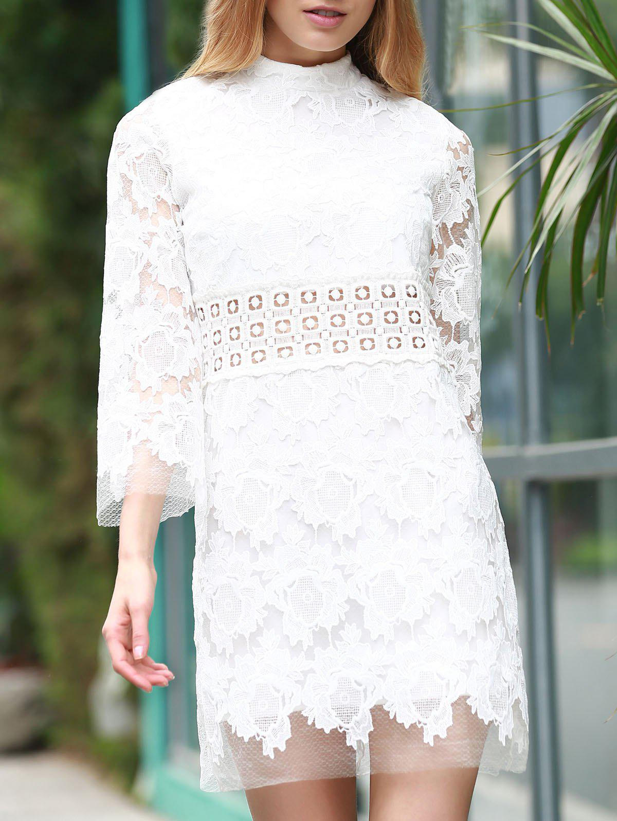 Stylish Women's Stand Collar 3/4 Sleeve Lace Dress - WHITE S