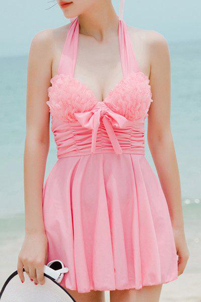 Stylish Women's Halterneck Bowknot Two Piece Swimsuit - LIGHT PINK M
