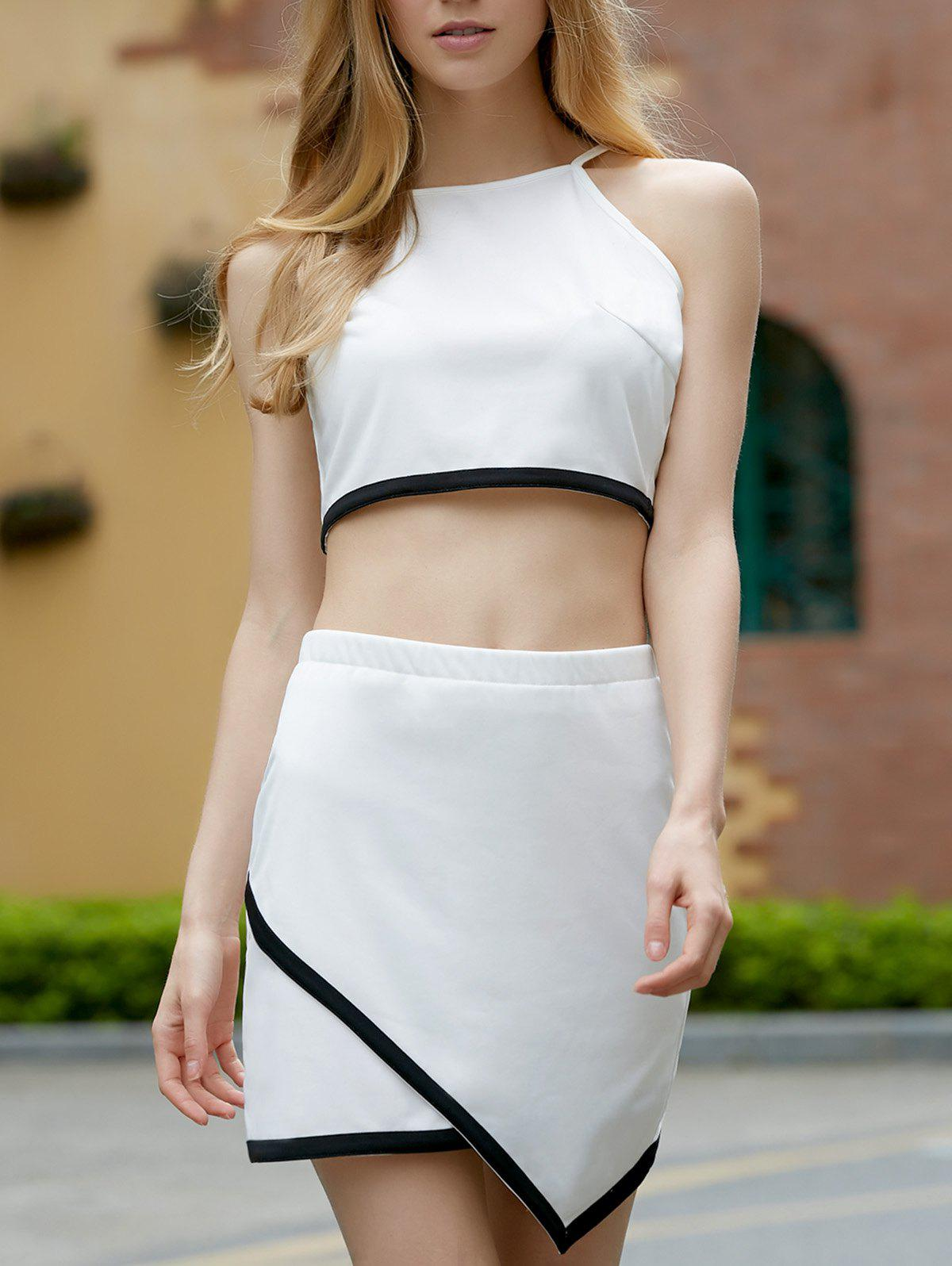 Refreshing Hit Color Sleeveless Crop Top and Irregular Skirt Twinset For Women - WHITE/BLACK S