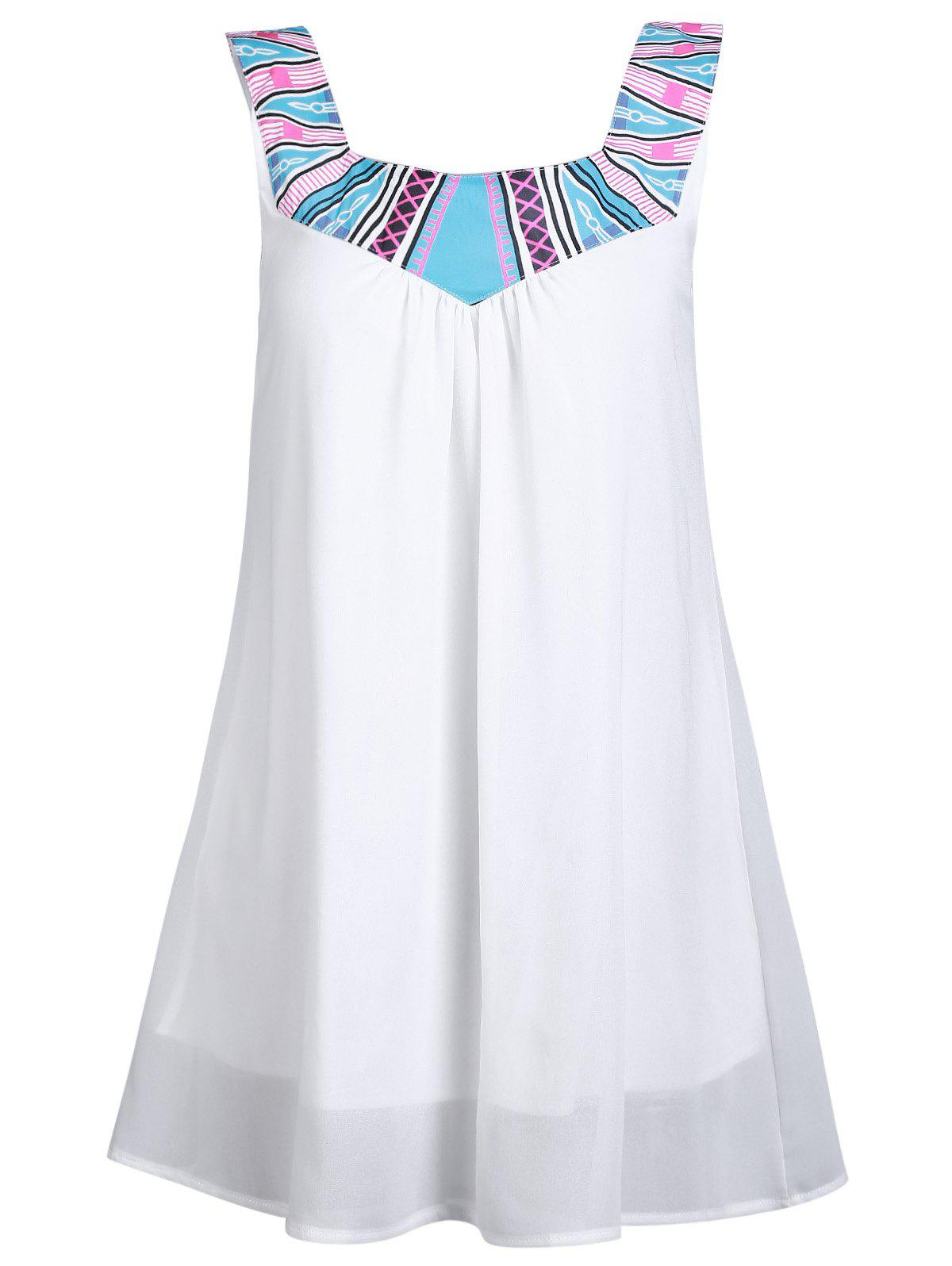 Stylish Square Neck Sleeveless  Loose-Fitting Printed Chiffon Dress For Women - WHITE L