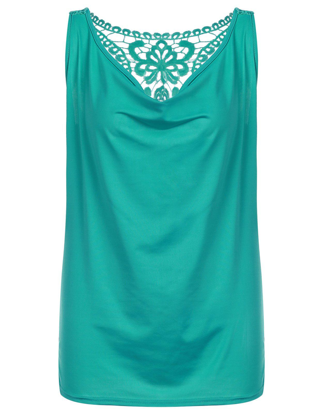 Racerback Lace Trim Tank Top - GREEN M
