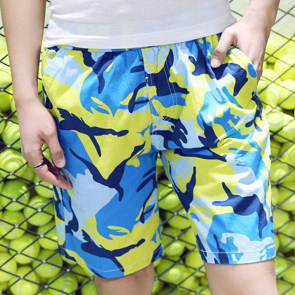 Trendy Straight Leg Camo Printed Lace-Up Men's Board Shorts