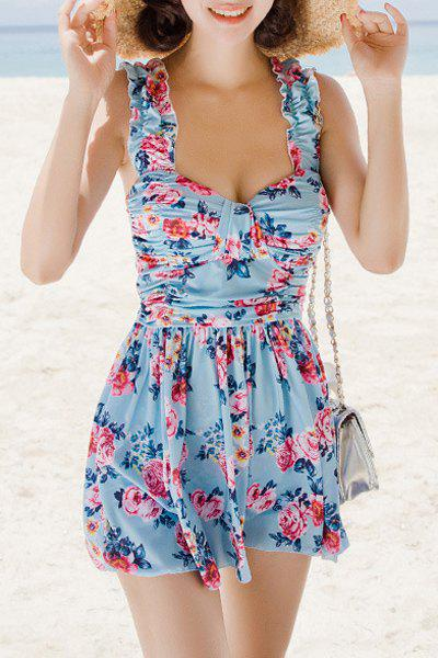 Refreshing Women's Sweetheart Neck Flower Print Two Piece Swimsuit