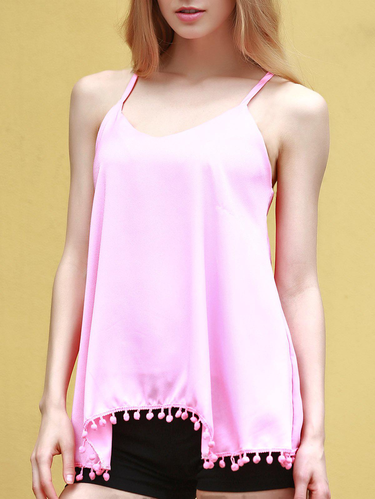 Endearing Pendant Design Solid Color Chiffon Tank Top For Women