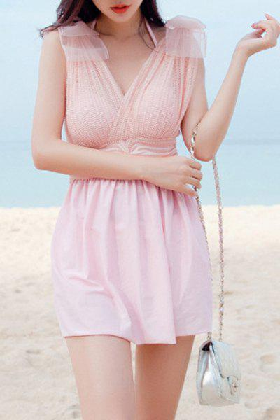 Col V Chic Femmes Solid Color Two Piece Swimsuit - Rose M