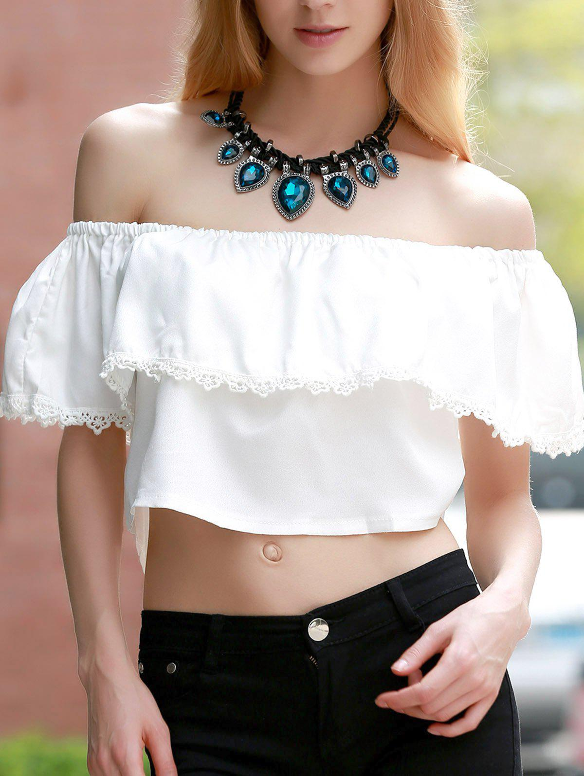 Sweet White Off-The-Shoulder Lace Hem Crop Top For Women - WHITE S