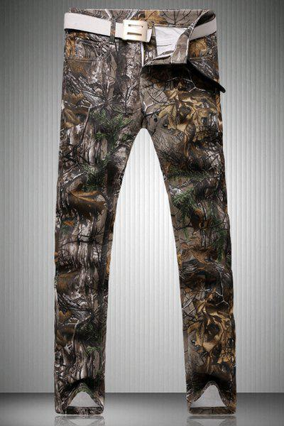 Trendy Straight Leg Branch Pattern Print Zipper Fly Men's Jeans - CAMOUFLAGE 38