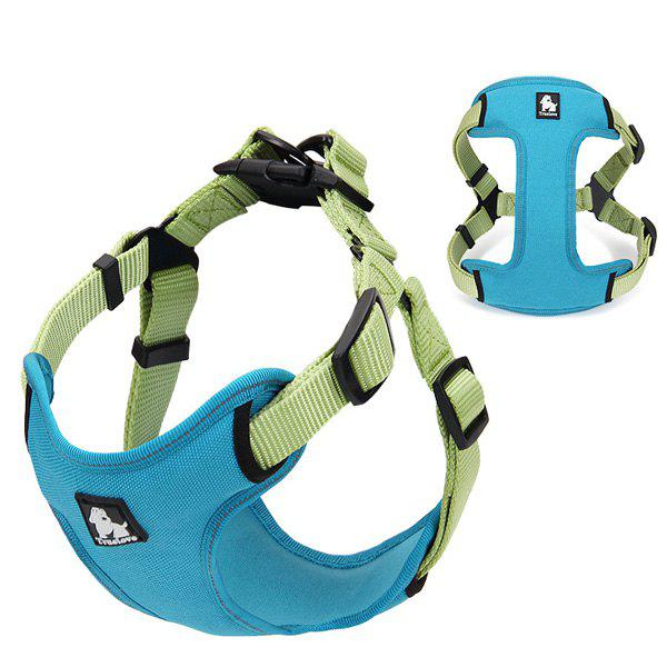 High Quality Comfortable Adjustable Breathable Reflective Dog Chest Harness Pet Vest Rope Collar - BLUE S